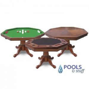 Antique Dark Oak Kingston 3-In-1 Poker Table