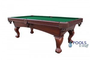 Westport 8' Antique Walnut Slate Pool Table With Green Felt