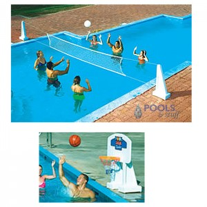 Pool Jam™ Volleyball & Basketball Combo Games for In-Ground Pools