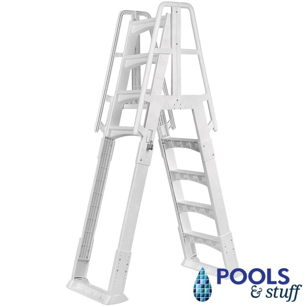Premium White A-Frame Above Ground Pool Ladder