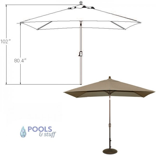 Adriatic Rectangular Autotilt Market Umbrella - Dimensions