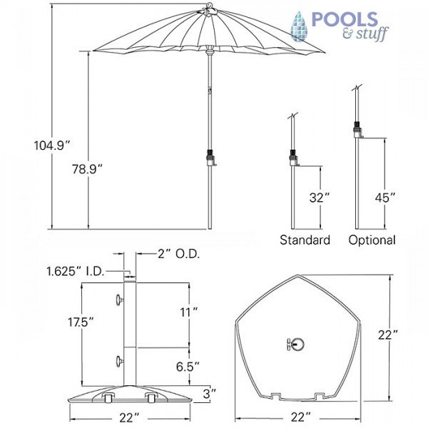 Canton Umbrella with Collar Tilt - Specs