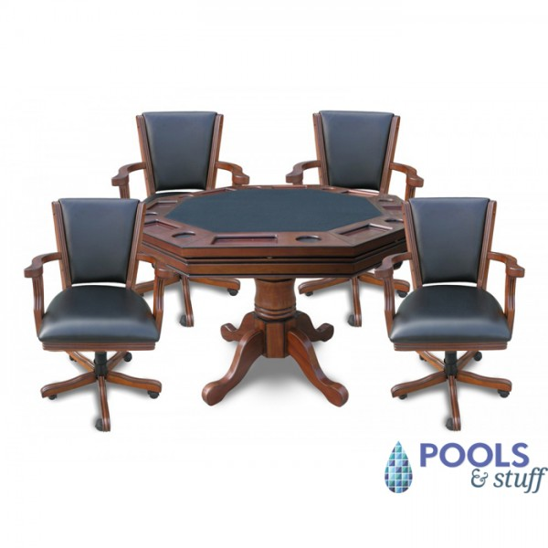 Walnut Kingston 3-In-1 Poker Table with Chairs