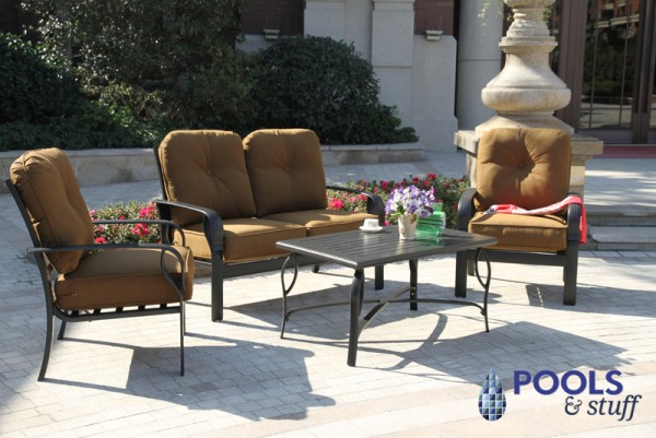 Sereno Bay 4-Piece Cushioned Patio Set in Canvas Teak