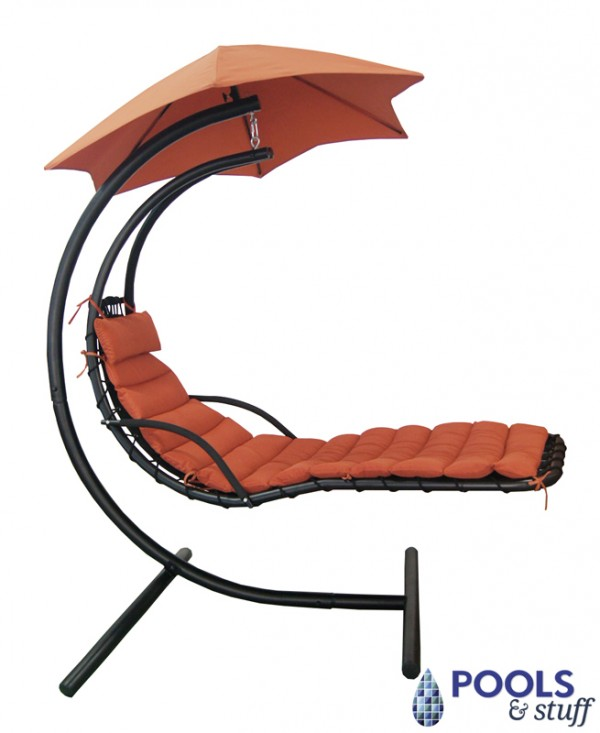 Hanging Lounge w/ Shade Canopy in Terra Cotta Sunbrella