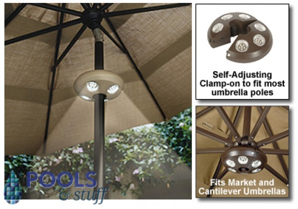 Santorini II Cantilever Umbrella with Valance Light