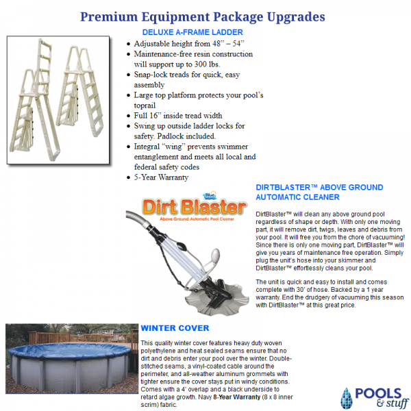 Upgrade to a Premium Sand or Cartridge Filter Package