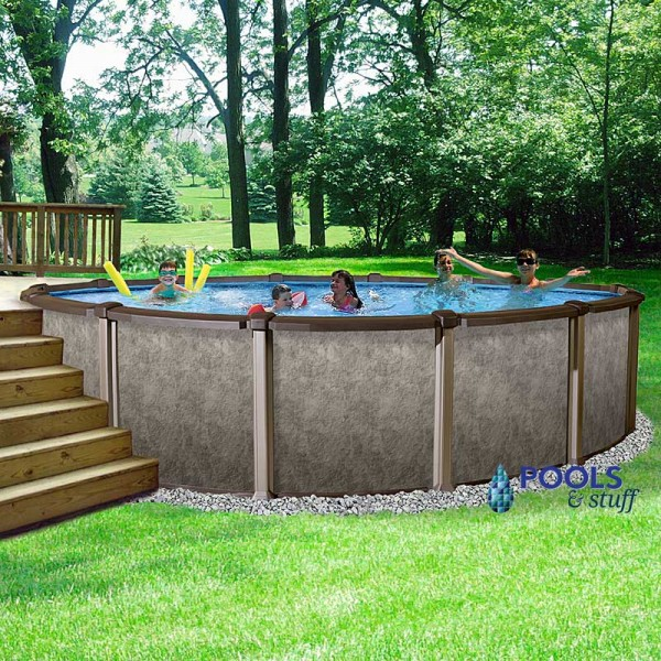 "RIVIERA™ - 18' Round, 54"" Deep Salt Water Above-Ground Swimming Pool"