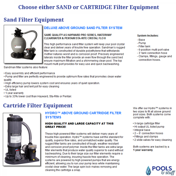 Add a Standard Sand or Cartridge Filter Package