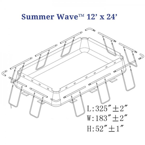"""12' x 24' Dimensions - Braces add about 18.5"""" to each side"""