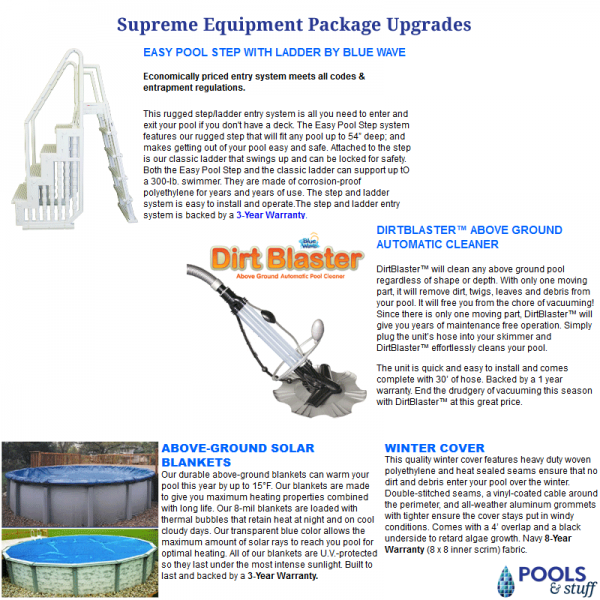 Get it All in our Supreme Sand or Cartridge Filter Package