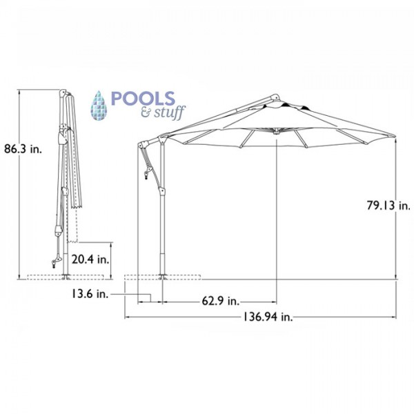 Tobago Cantilever Umbrella - Specs